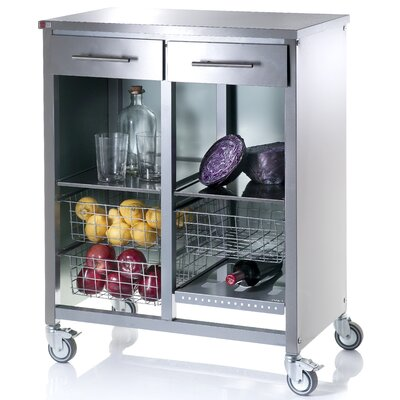 Hahn Kitchen Island with Cook Stainless Steel Counter Top