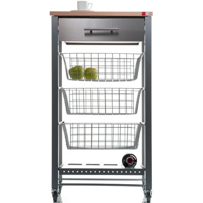 Hahn April Kitchen Island with Stainless Steel Counter Top