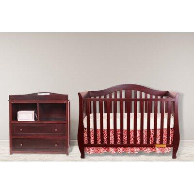 Dejah 4-in-1 Convertible 2 Piece Crib Set Color: Cherry