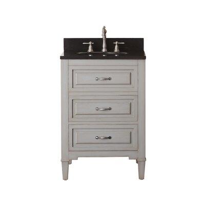"""Kelly 25"""" Single Bathroom Vanity Set Top Color: Black Granite"""