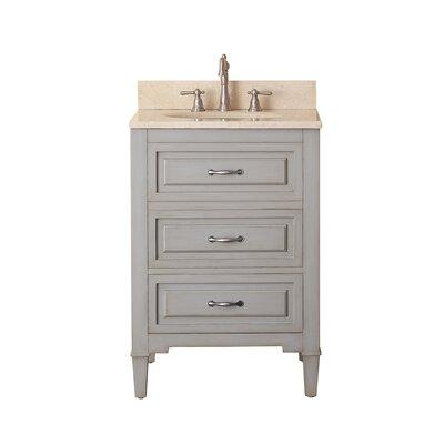 """Kelly 25"""" Single Bathroom Vanity Set Top Color: Galala Beige Marble"""