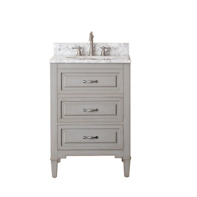 "Kelly 25"" Single Bathroom Vanity Set Top Color: Carrera White Marble"