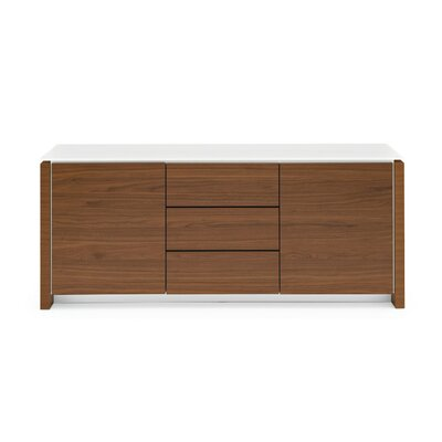 Mag Wood Accent Cabinet - 2 Side Door - 3 Central Drawer Top Color: Frosted Acid Etched Extra White, Frame Color: Graphite