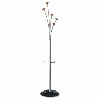 Festival Coat Tree with Umbrella Holder, Five Knobs, Metal/Wood