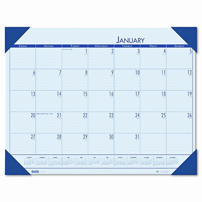 EcoTones Monthly Desk Pad Calendar Color: Blue