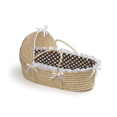 Hooded Moses Basket with Polka Dot Bedding Finish: Natural / Brown Polka Dot