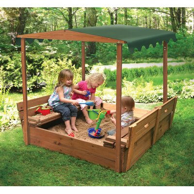 Badger Basket Deluxe Covered Convertible Cedar 4' Rectangular Sandbox with Two Bench Seats