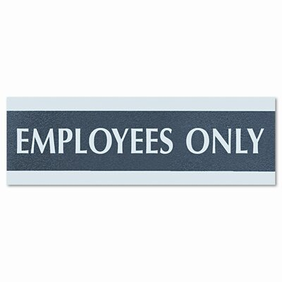 """Century Series """"Employees Only"""" Sign, 9w x 1/2d x 3h, Black/Silver"""
