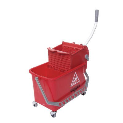 Unger 4 Gallon Side-Press Restroom Mop Bucket Combo in Red
