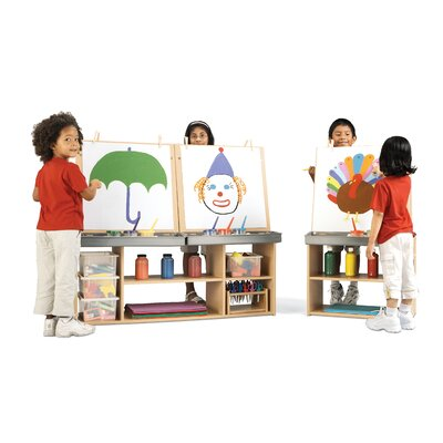 Double Sided Flipchart Easel Assembly: Ready to Assemble, Stations: 4