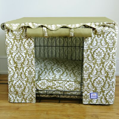 """Damask Dog Crate Cover Size: Large ( 26"""" H x 36"""" W x 24 - 25"""" D)"""