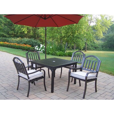 Oakland Living Rochester 5 Piece Dining Set with Cushions and Umbrella