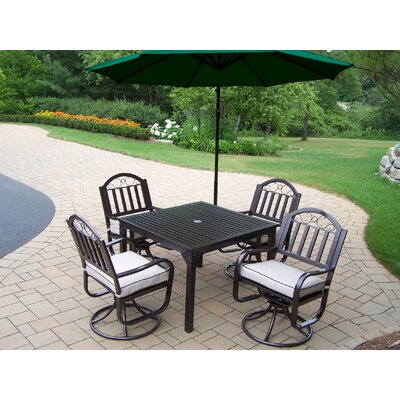 Oakland Living Rochester 5 Piece Swivel Dining Set with Cushions and Umbrella