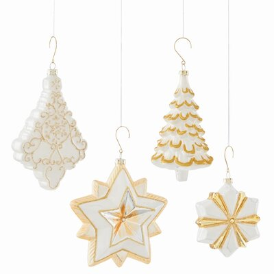 4 Piece Holiday Star and Tree Shaped Ornament Set