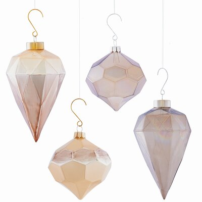 4 Piece Faceted Shaped Ornament Set (Set of 2)