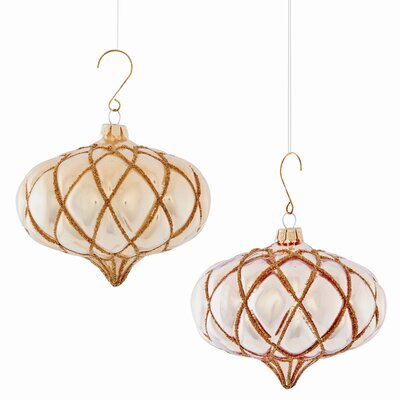Glass Tufted Onion Shaped Ornament (Set of 4)