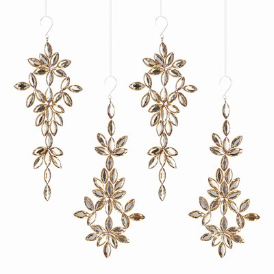Jeweled Arabesque Shaped Ornament (Set of 4)