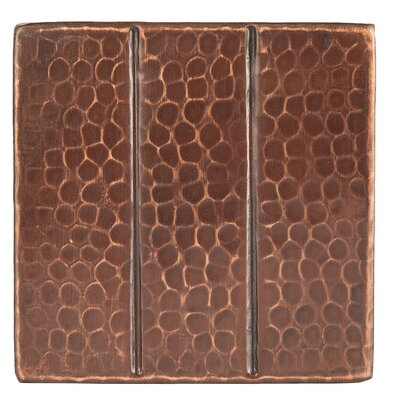 """4"""" x 4"""" Hammered Copper Linear Tile in Oil Rubbed Bronze"""