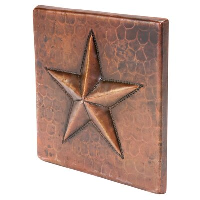 """4"""" x 4"""" Hammered Copper Star Tile in Oil Rubbed Bronze"""