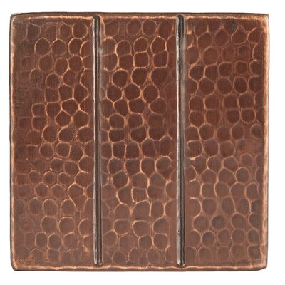 "4"" x 4"" Hammered Copper Linear Tile in Oil Rubbed Bronze"