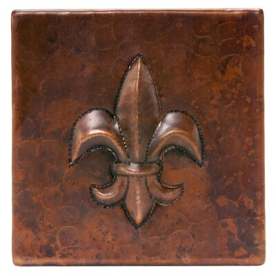 "4"" x 4"" Hammered Copper Fleur De Lis Tile in Oil Rubbed Bronze"