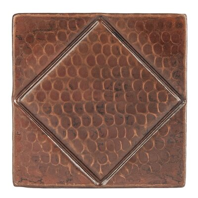 "4"" x 4"" Hammered Copper Diamond Tile in Oil Rubbed Bronze"