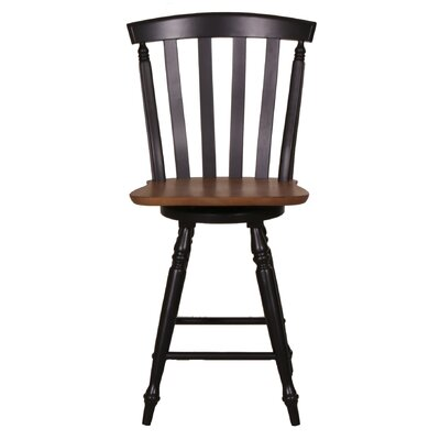 "Al Fresco 24"" Swivel Bar Stool (Set of 2) Frame Finish: Black"