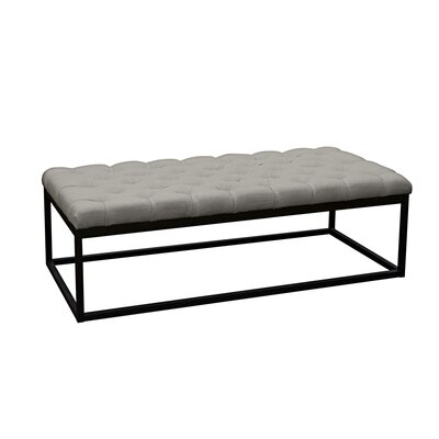 Mateo Metal Bench Size: Large, Upholstery Color: Grey