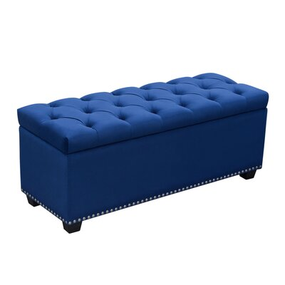 Majestic Upholstered Storage Bench Upholstery: Royal Blue