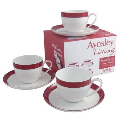 Aynsley China Madison 8 Piece Teacup and Saucer Set