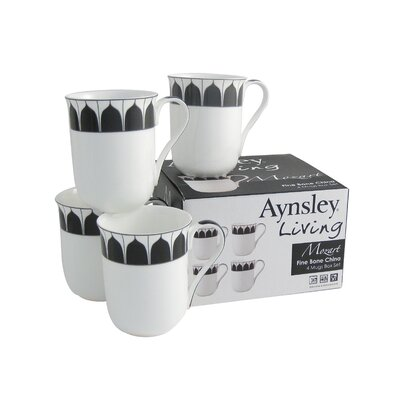 Aynsley China Mozart 4 Piece Bone China Mug Set