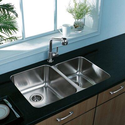 Vigo 32 inch Undermount 60/40 Double Bowl 18 Gauge Stainless Steel Kitchen Sink