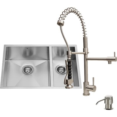 Vigo 29 inch Undermount 70/30 Double Bowl 16 Gauge Stainless Steel Kitchen Sink with Zurich Stainless Steel Faucet, Two Grids, Two Strainers and Soap Dispenser