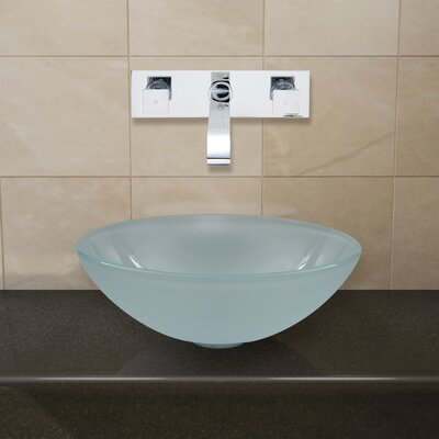 Vigo White Frost Vessel Sink and Titus Wall Mount Faucet with Pop Up