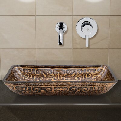 Vigo Rectangular Golden Greek Glass Vessel Bathroom Sink and Olus Wall Mount Faucet with Pop Up