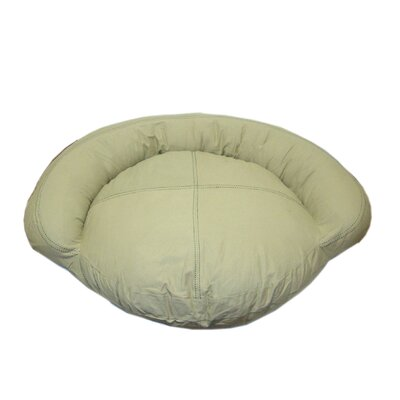 Zoey Tails Saddle Stitch Twill Bolster Dog Bed in Khaki