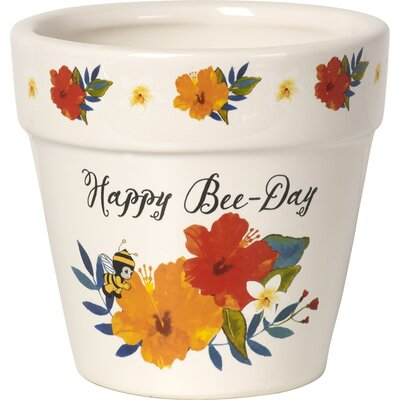 Happy Bee-Day Decorative Ceramic Flower Yard Dcor Pot Garden
