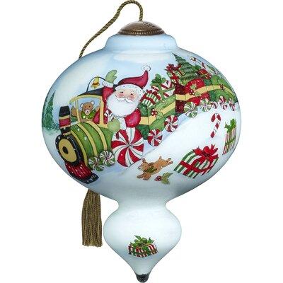 Ne'Qwa Standard Santa's Peppermint Express Train Ride Marquis Shaped Ornament