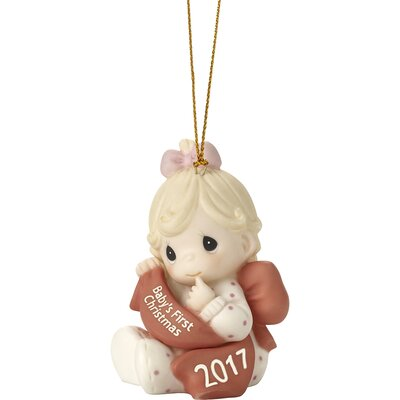 Baby?s First Christmas 2017 Dated 2017 Bisque Porcelain Ornament Girl Hanging Figurine