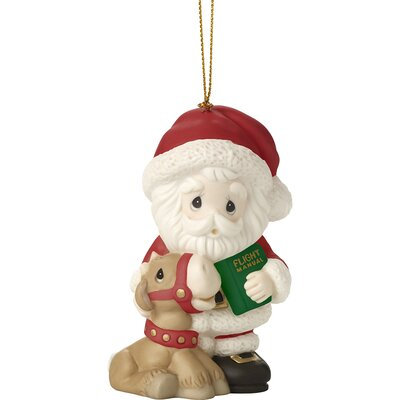 All Things Are Possible If You Believe Ninth in Annual Santa Series Bisque Porcelain Ornament Hanging Figurine