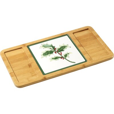 Celebration Bamboo Serving Tray with Glass Holly Cutting Board