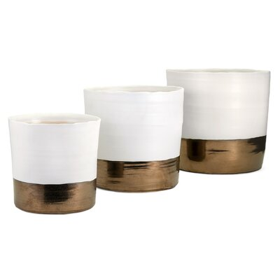 Hanover Round 3-Piece Ceramic Pot Planter Set