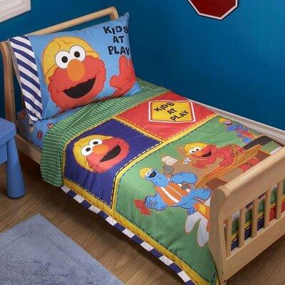 Sesame Street Construction Zone Sesame Street 4 Piece Toddler Bedding Set