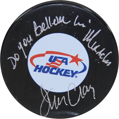 Decorative Jim Craig Signed USA Hockey Puck