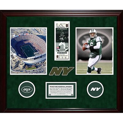 Steiner Sports Jets Final Ticket Collage with Ticket Turf Logos and Nameplate Memorabilia