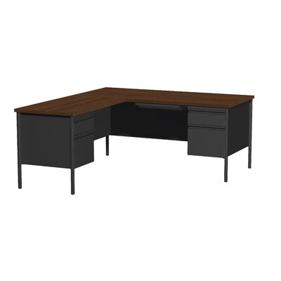 Hl10000 Series L-Shape Desk Finish: Black/Walnut, Orientation: Left
