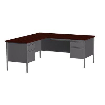 Hl10000 Series L-Shape Desk Finish: Charcoal/Mahogany, Orientation: Left