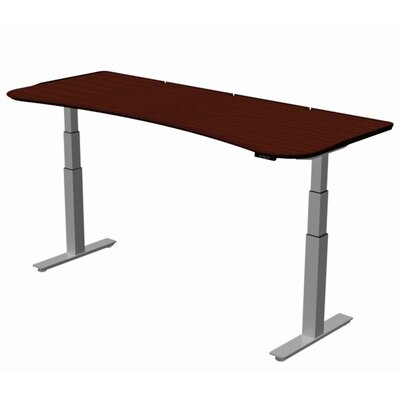 "Stretch-Out Focus Shape Standing Desk Size: 29"" H x 58"" W x 29"" D, Finish: Classic Mahogany"