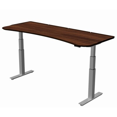 "Stretch-Out Focus Shape Standing Desk Size: 29"" H x 58"" W x 29"" D, Finish: Washington Cherry"
