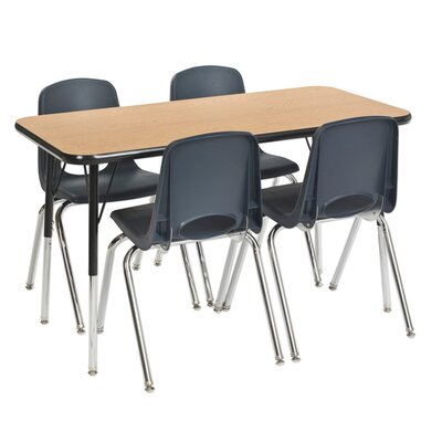"5 Piece Rectangular Activity Table & 12"" Chair Set Leg Type: Standard Leg with Swivel Glide, Side Finish: Black, Tabletop Finish: Oak"